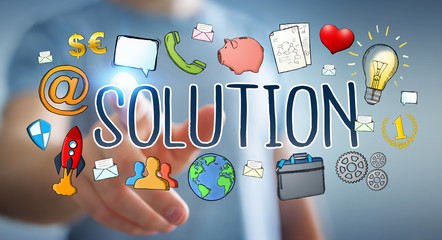 Businessman using hand-drawn solution presentation