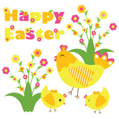 Vector cartoon of cute chicken and chicks are happy on flowers garden for Easter postcard, wallpaper, and greeting card