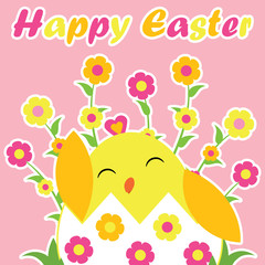 Vector cartoon of cute chick in egg and flowers on pink background for Easter card, wallpaper, and greeting card