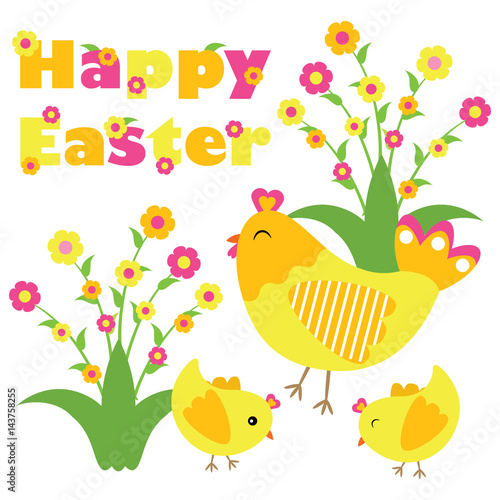 Vector Cartoon Of Cute Chicken And Chicks Are Happy On
