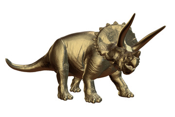 golden Triceratops horridus of the late Cretaceous period between 66 and 68 million years ago