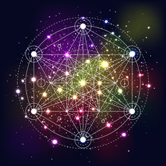 Mystical geometry symbol on space background.