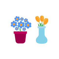 Spring flowers. Fun and cute spring flowers icons