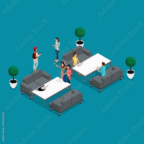 Trendy isometric people and gadgets coworking center - Interior design work environment ...