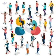 Trendy Isometric people and gadgets, 3D people, teenager, students, large group of people, using hi tech technology, pad, laptop, headphones, scales, sport