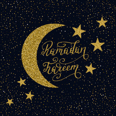 Hand drawn Ramadan Kareem lettering with gold glitter texture.