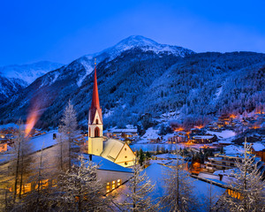 Fotomurales - Solden Ski Resort Skyline in the Morning, Tirol, Austria