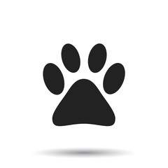 Paw print icon vector illustration isolated on white background. Dog, cat, bear paw symbol flat pictogram.