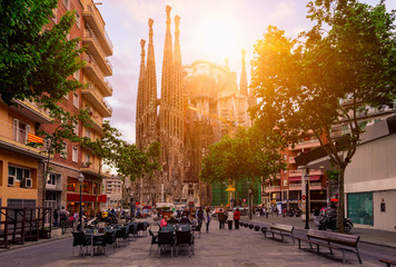 Canvas Prints Barcelona Cozy street in Barcelona, Spain