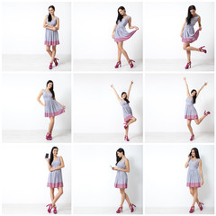 Beautiful young woman in nice spring dress, posing in a studio. Fashion spring summer photo. Set.