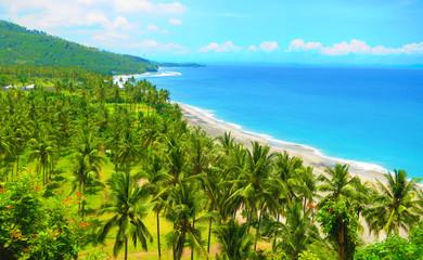 Beautiful beach with blue waters in Pantai Nipah, Lombok Island, Indonesia