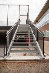 an iron staircase