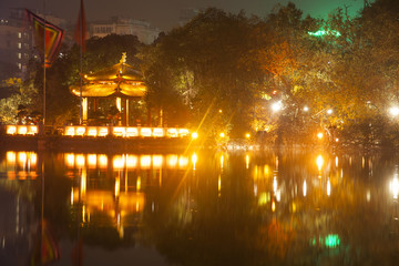 Hoan Kiem Lake. Night view in Hanoi