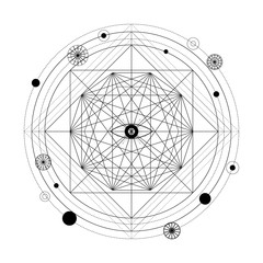 Mystical geometry symbol. Linear alchemy, occult, philosophical sign.