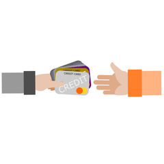 Customer is holding a credit cards for paying order on white background. Customer paying order and use many credit card because money is not enough for paying
