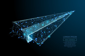 Abstract image of a aircraft origami in the form of a starry sky or space, consisting of points, lines, and shapes in the form of planets, stars and the universe. Vector wireframe concept.