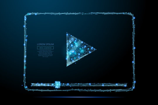Abstract image of a Video codec low poly in the form of a starry sky or space, consisting of points, lines, and shapes in the form of planets, stars and the universe. Vector wireframe concept.