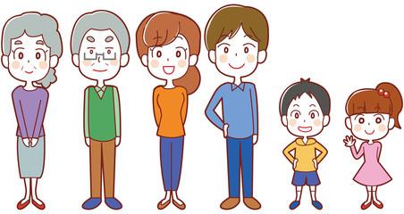 家族のイラストセット(三世代)