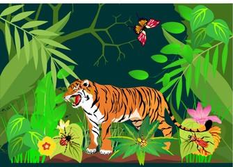 tiger in green jungles Vector illustration.