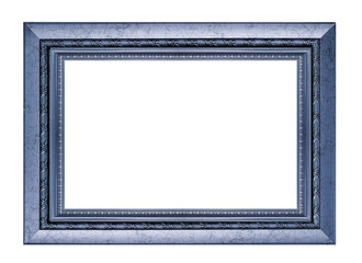 Blue wood picture frame on white background.