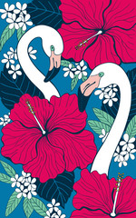 Two flamingos among hibiscus and plumeria flowers and leaves. Tropical summer background.