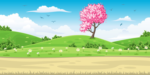 Wall Mural - Illustration of a spring landscape with tree