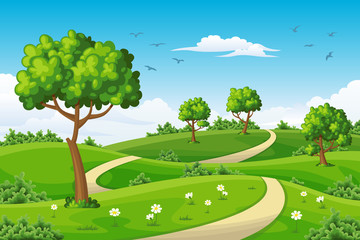 Wall Mural - Illustration of a summer landscape with trees