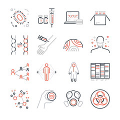 Pandemic and outbreak Plague line icons set