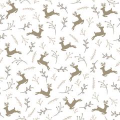 Reindeer Floral Seamless Pattern