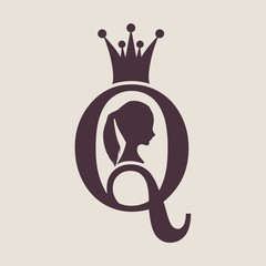 Vintage queen silhouette. Medieval queen profile. Elegant silhouette of a female head. Vector Illustration. Ponytail hairstyle. Monochrome gamma. Royal emblem with Q letter