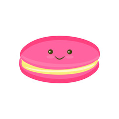 Kawaii Macaroon cookie color flat icon for web and mobile design