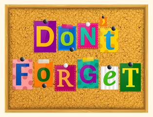 Don't forget text from magazine letters pinned to a cork notice board with push pins. Vector.