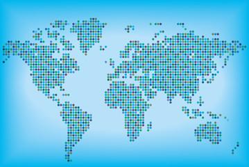 Разноцветная карта мира, состоящая из круглых точек. Векторная иллюстрация.