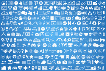 Internet of things , iot , smart home , car , industry 4.0 , agriculture , fintech , retail , smart city concept. White Info graphic Technology, Industrial icons on blue background.