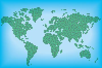 Карта мира зеленого цвета из круглых точек. Векторная иллюстрация.