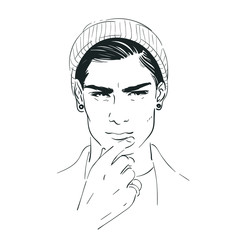 Handsome younghipster in cap man vector illustration