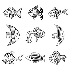 Set of nine isolated hand drawn black outlines fishes on white background.