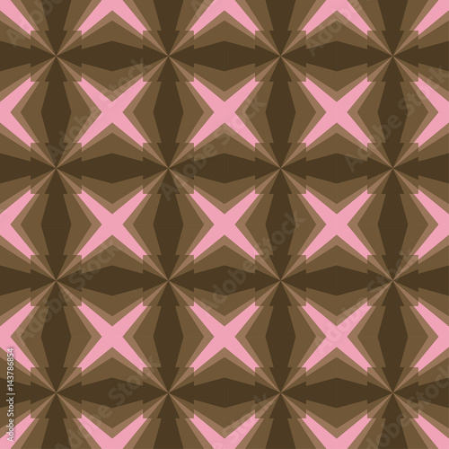 Seamless Contrast Geometric Pattern With Pink Stars Or Cross And Brown Squares On Chocolate Color Background