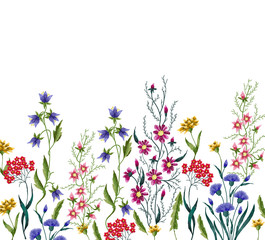Embroidery flowers. Embroidered design elements with flowers and leaves on a white background.