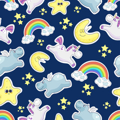 Sweet dreams seamless background. Good night stickers collection. Vector illustration