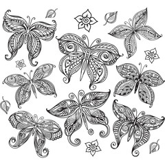 Set of butterfly in doodle style