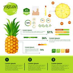 Fresh Organic Infographics Natural Fruits Growth, Agriculture And Farming Flat Vector Illustration
