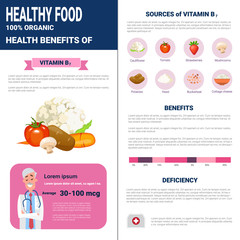 Healthy Food Infographics Products With Vitamins, Health Nutrition Lifestyle Concept Flat Vector Illustration
