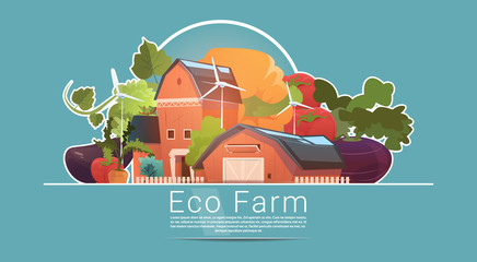 Eco Farming, Farm House, Farmland With Wind Turbine Renewable Energy Station Flat Vector Illustration