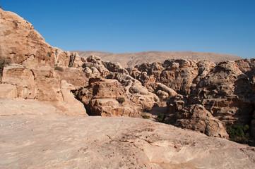 Beida, 02/10/2013: vista dall'alto del canyon della piccola Petra, nota come Siq al-Barid, sito archeologico nabateo con edifici scavati nelle pareti dei canyon di arenaria