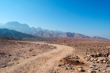 Medio Oriente, 10/03/2013: tracce di 4x4 nel paesaggio deserto della Riserva Biosfera di Dana, la più grande riserva naturale della Giordania