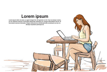 Girl Typing On Laptop Computer, Sketch Young Woman Chatting Online Sitting On Chair Living Room Interior Vector Illustration