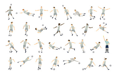 Soccer player set. Isolated illustrations on white background.