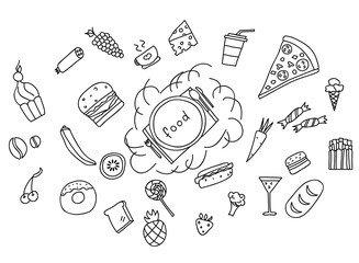 Icons of fruits, vegetables and food a hand drawn doodle in style. Vector illustration