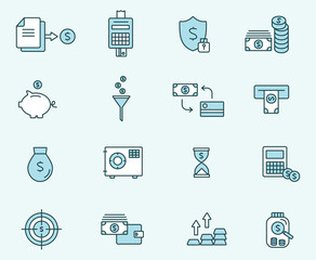 Set of icons linear design finance . Vector illustration